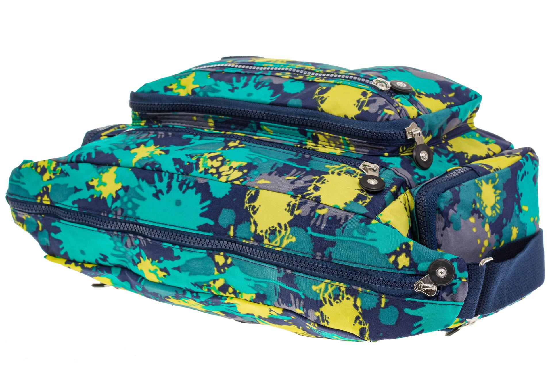 На фото 4 - Текстильная темная сумка с принтом пятен краски