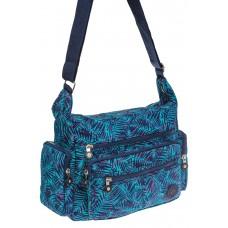 На фото 1 - Текстильная темная сумка с растительным принтом