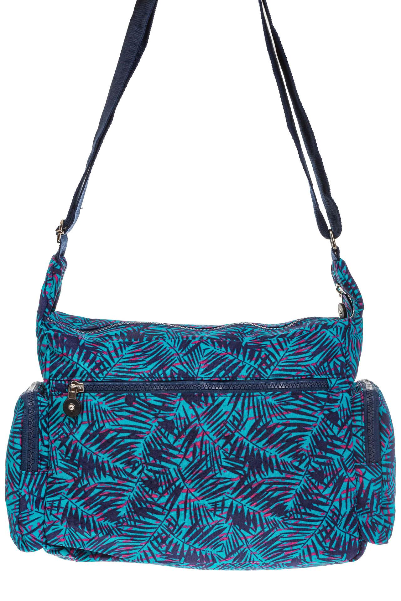На фото 3 - Текстильная темная сумка с растительным принтом