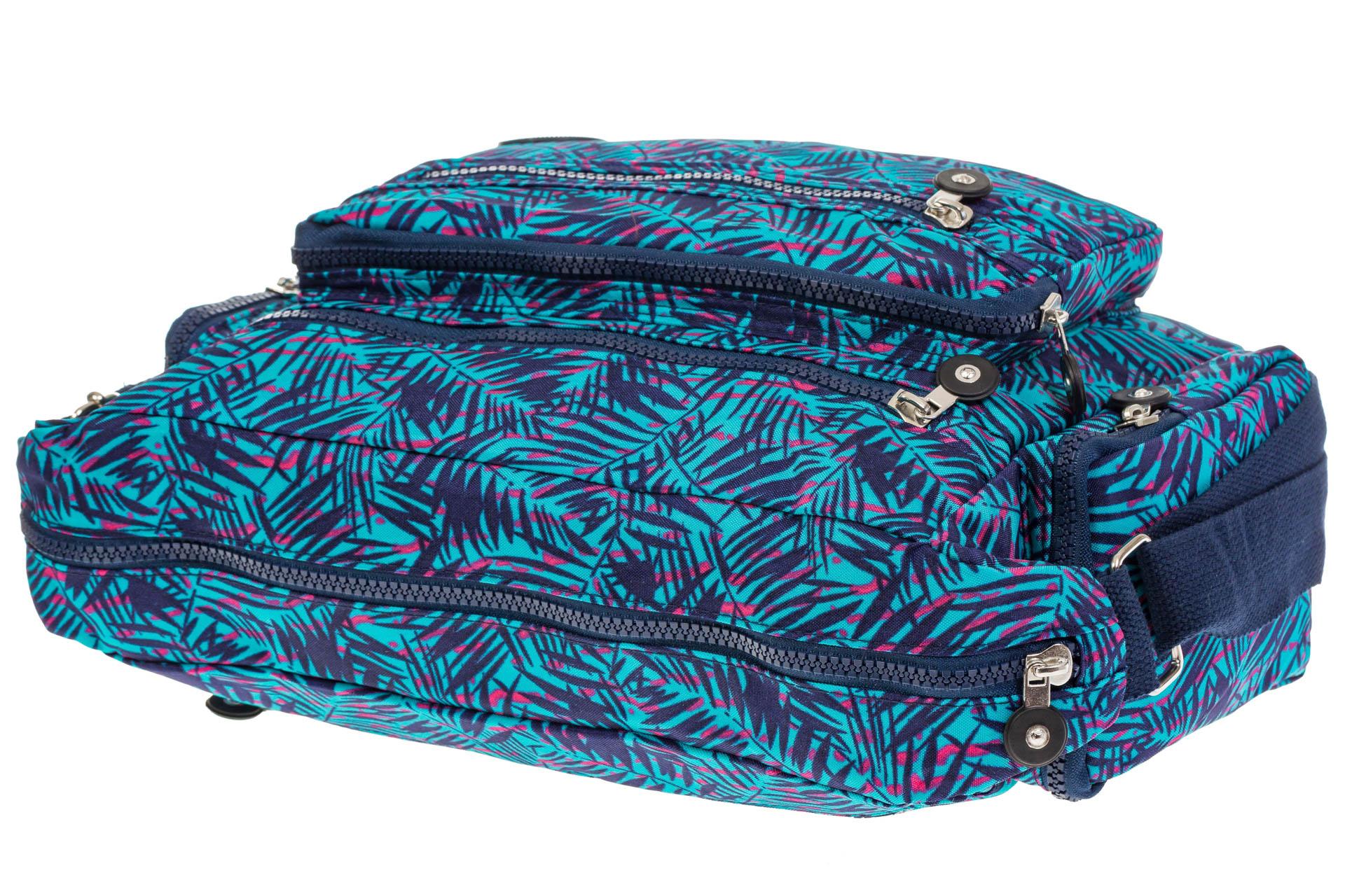 На фото 4 - Текстильная темная сумка с растительным принтом