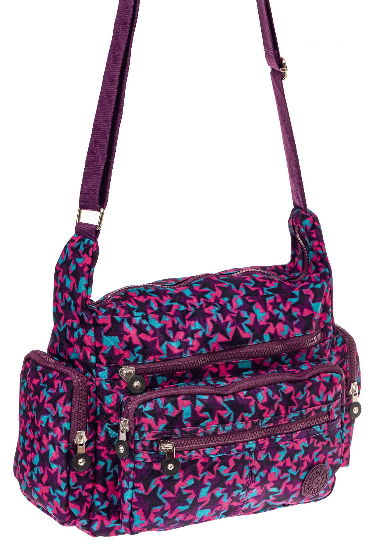 На фото 1 - Текстильная сумка с принтом, цвет фиолетовый