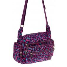 На фото 1 - Текстильная сумка с принтом, цвет фиолетовы...