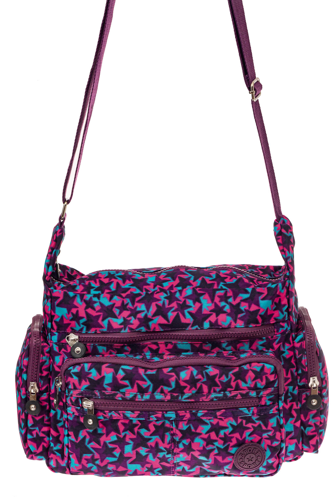 На фото 2 - Текстильная сумка с принтом, цвет фиолетовый