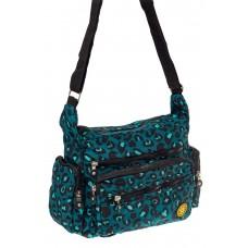 На фото 1 - Женская текстильная сумка с принтом, цвет бирюзовый