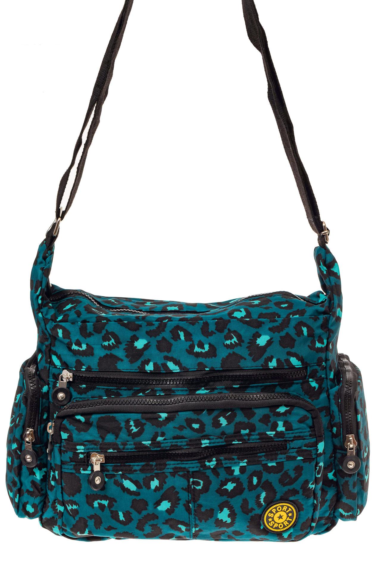 На фото 2 - Текстильная  сумка с принтом, цвет бирюзовый