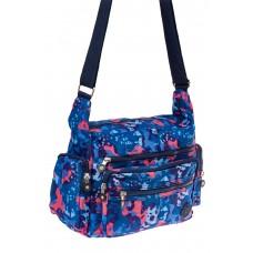 На фото 1 - Текстильная сумка с принтом, цвет синий