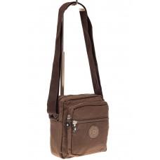 На фото 1 - Текстильная кросс-боди, цвет коричневый