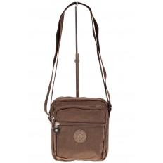 На фото 2 - Текстильная кросс-боди, цвет коричневый