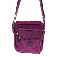 На фото 2 - Текстильная кросс-боди, цвет фиолетовый