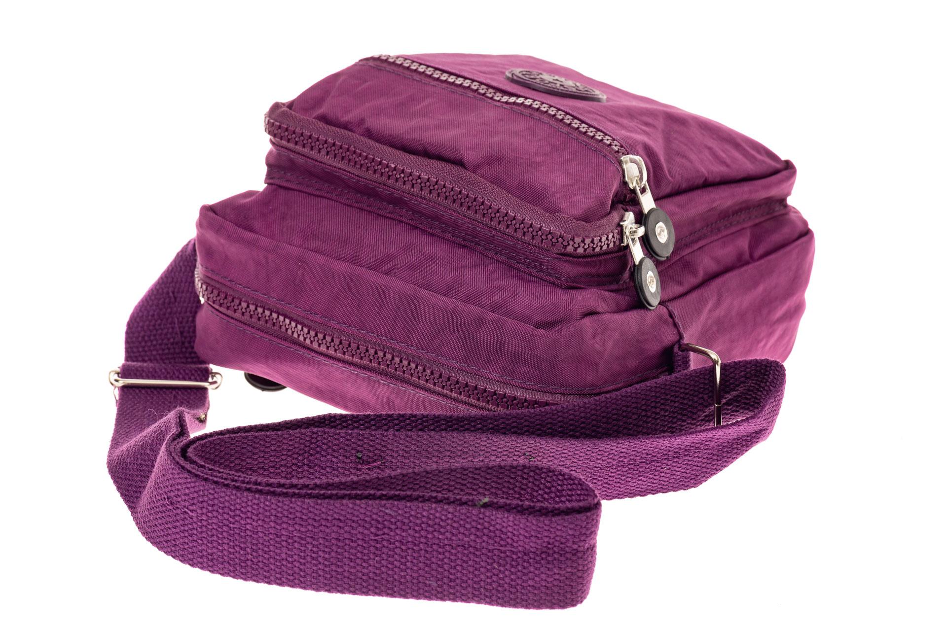 На фото 4 - Текстильная кросс-боди, цвет фиолетовый