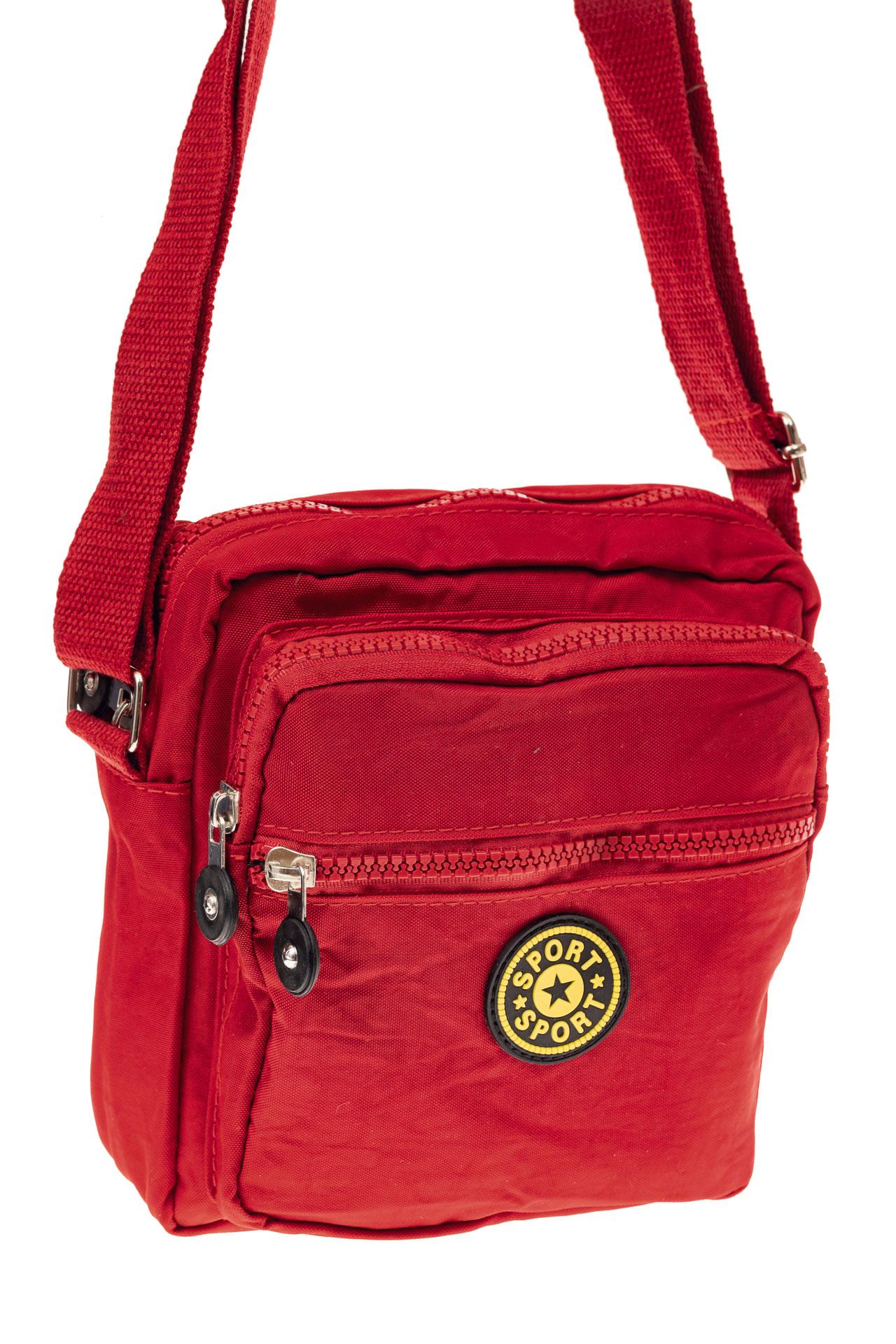 На фото 1 - Текстильная кросс-боди, цвет красный