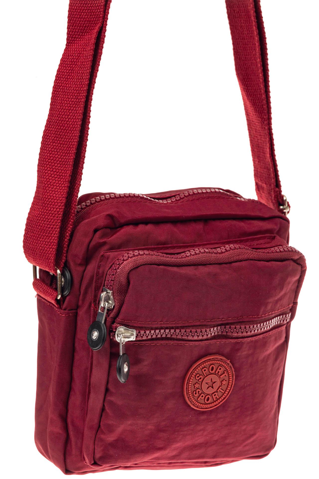 На фото 1 - Текстильная кросс-боди, цвет бордо