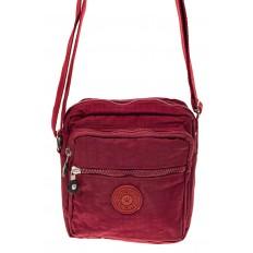 На фото 2 - Текстильная кросс-боди, цвет бордо