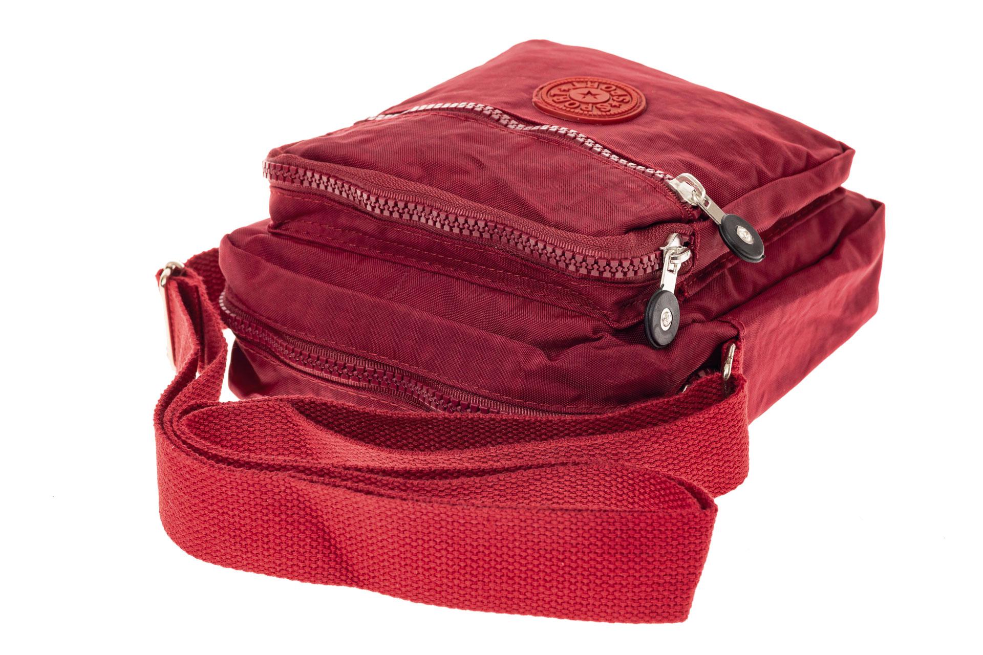 На фото 4 - Текстильная кросс-боди, цвет бордо