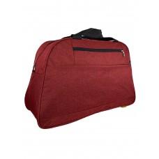 На фото 1 - Багажная женская сумка из текстиля, цвет бордовый
