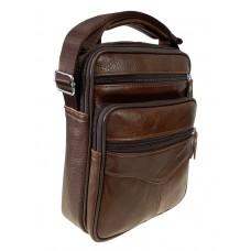 На фото 1 - Кожаная мужская сумка через плечо, цвет коричневый
