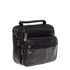 На фото 1 - Мужская сумка-барсетка из фактурной натуральной кожи, цвет чёрный