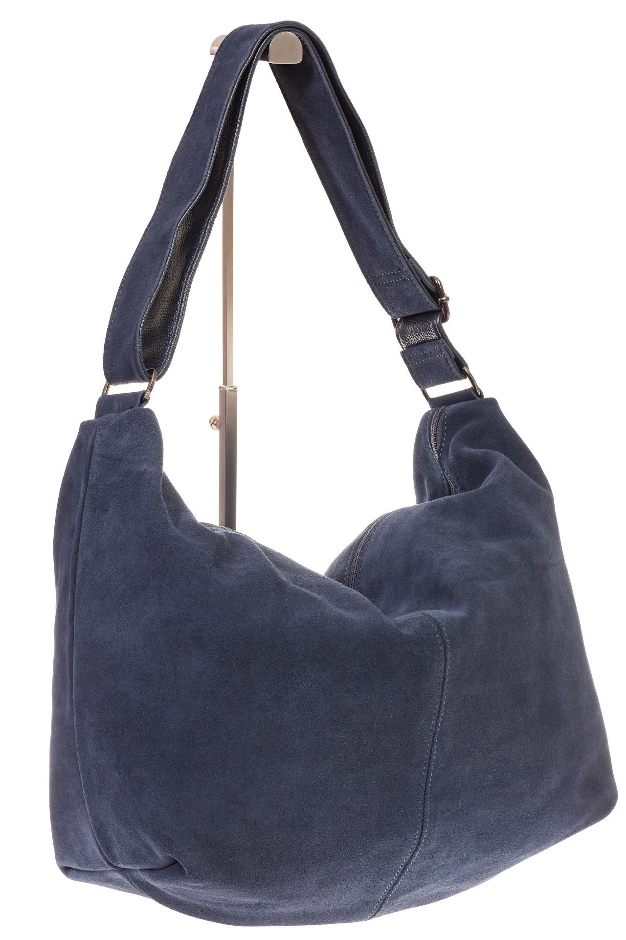 На фото 1 - Замшевая сумка хобо серо-синего цвета