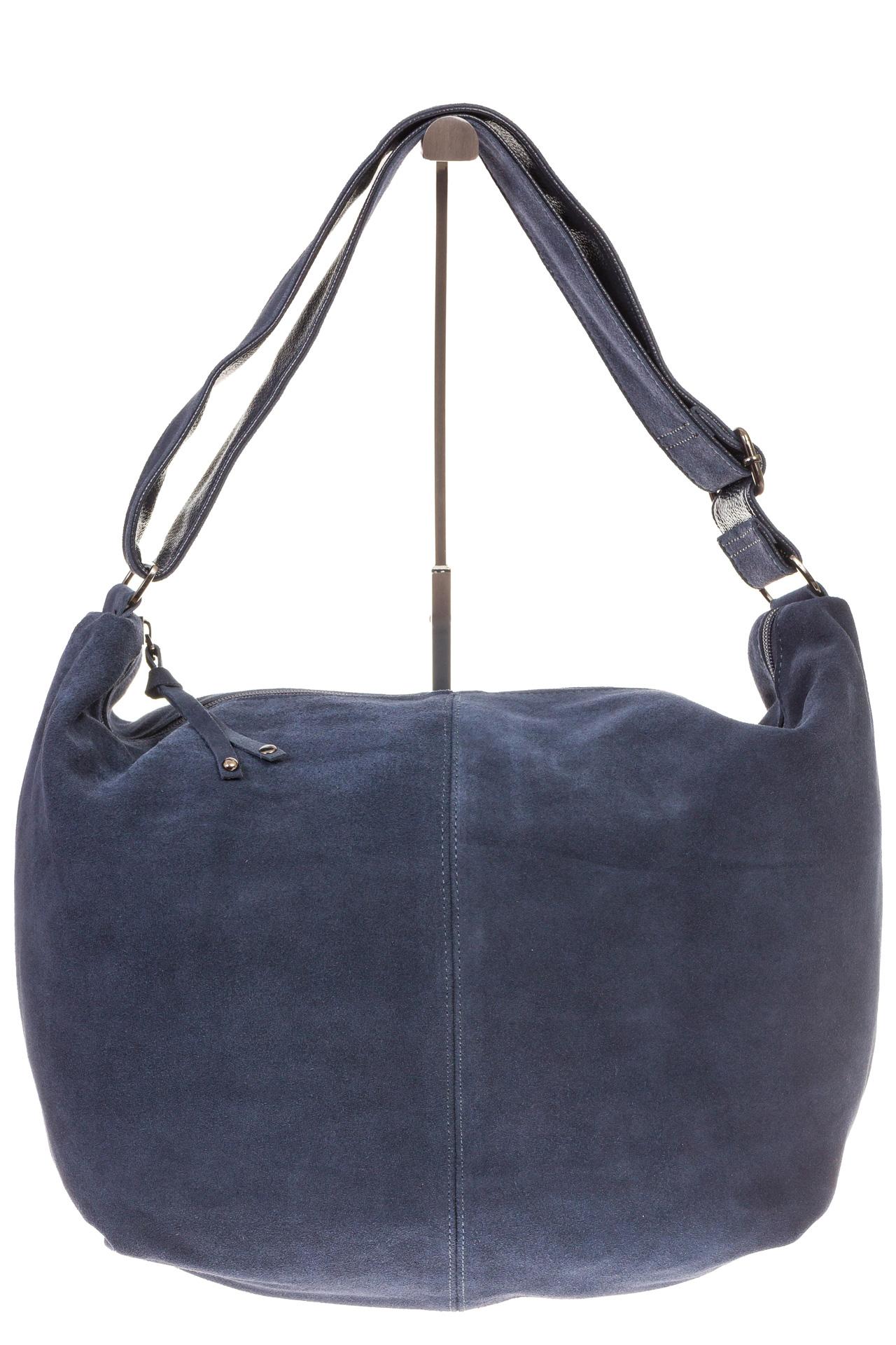 На фото 2 - Замшевая сумка хобо серо-синего цвета