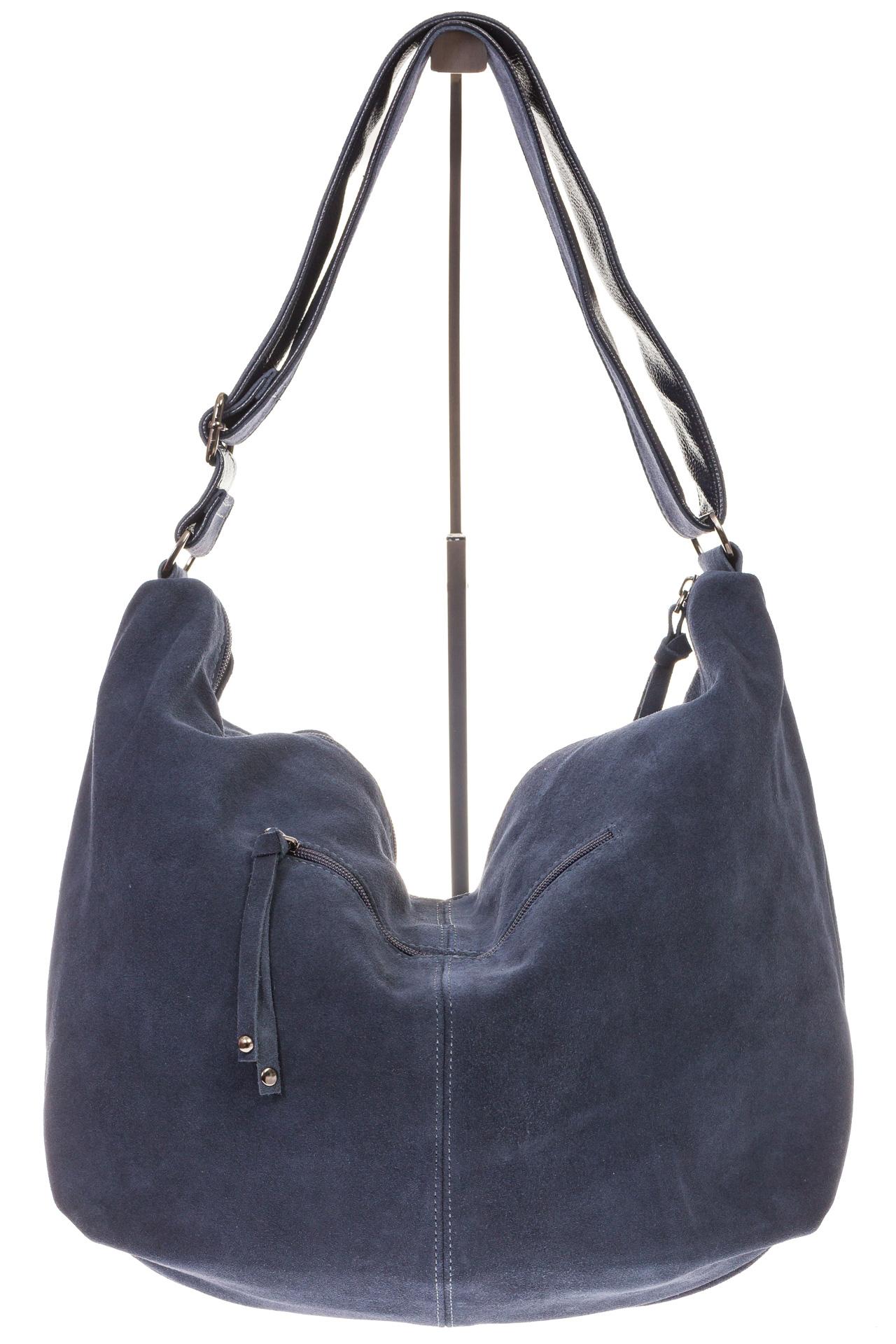 На фото 3 - Замшевая сумка хобо серо-синего цвета