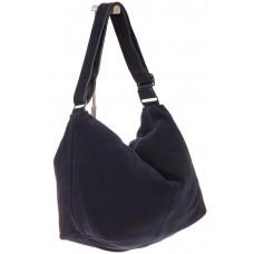 На фото 1 - Замшевая сумка хобо синего цвета