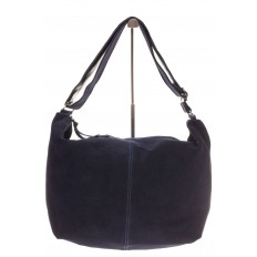На фото 2 - Замшевая сумка хобо синего цвета