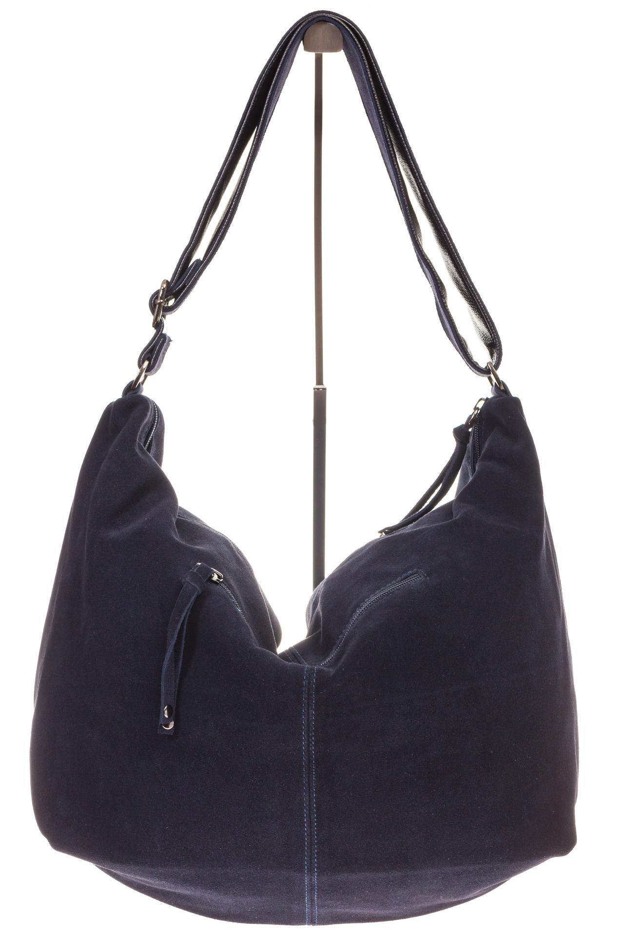 На фото 3 - Замшевая сумка хобо синего цвета