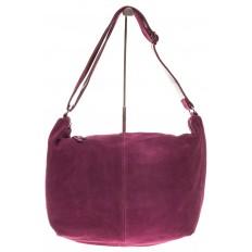 На фото 2 - Замшевая сумка хобо бордового цвета