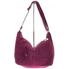 На фото 3 - Замшевая сумка хобо бордового цвета