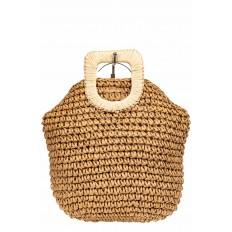 На фото 3 - Плетеная сумка тоут из джута с акцентной квадратной ручкой, цвет крафт