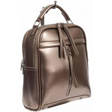 На фото 1 - Женский рюкзак из искусственной кожи, цвет бронзовый