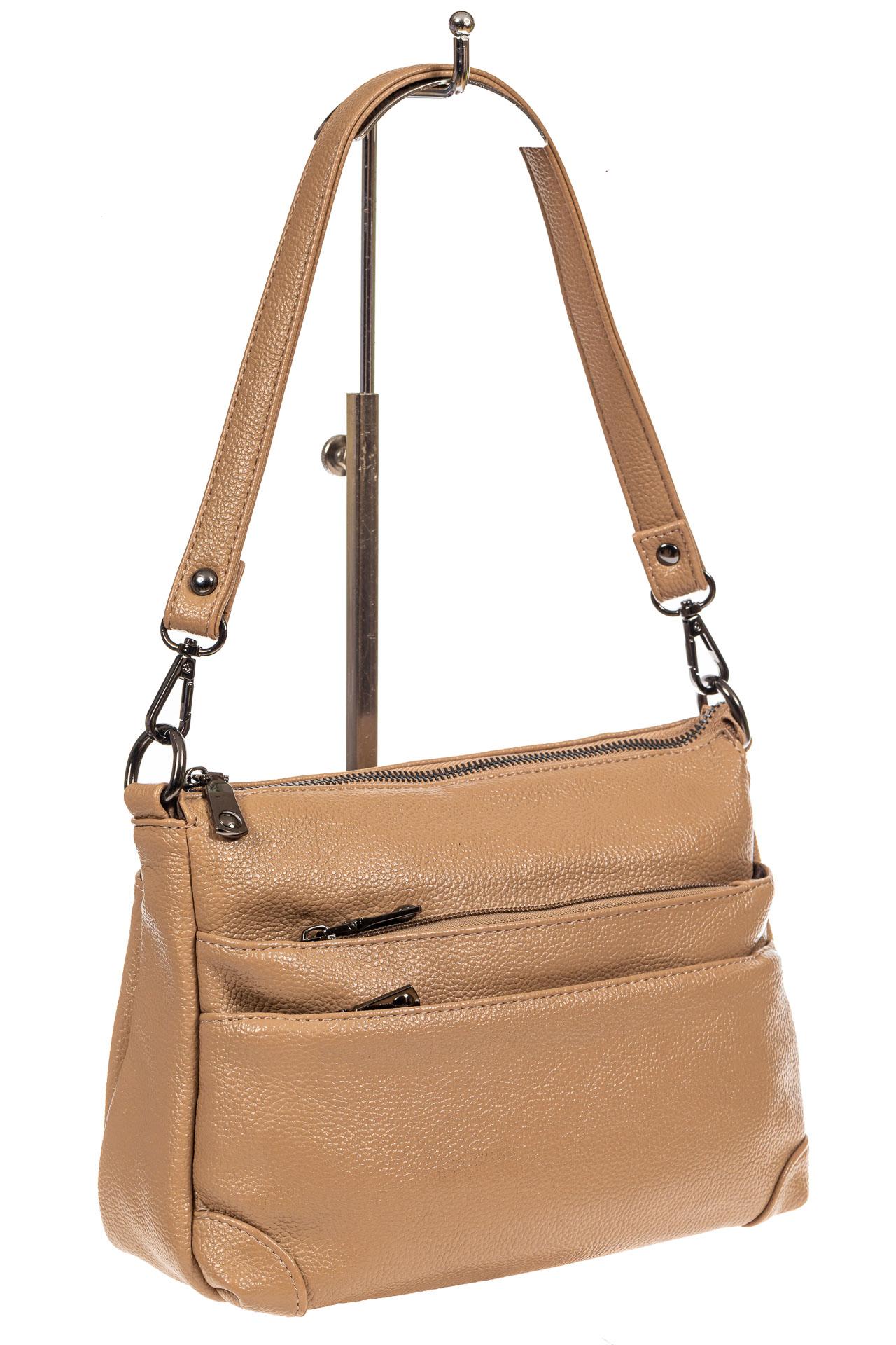 Классическая женская сумка из искусственной кожи, цвет бежевый5169PTS0920/10