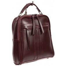 На фото 1 - Рюкзак женский из искусственной кожи, цвет бордовый