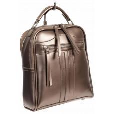 На фото 1 - Рюкзак женский из искусственной кожи, цвет бронзовый