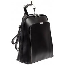 На фото 1 - Женский рюкзак-трансформер из экокожи, цвет чёрный