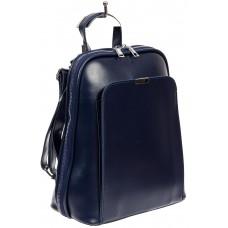 На фото 1 - Женский рюкзак-трансформер из экокожи, цвет синий