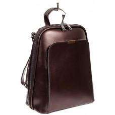 На фото 1 - Женский рюкзак-трансформер из экокожи, цвет перламутрово-бордовый