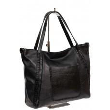 На фото 1 - Большая женская сумка из экокожи, цвет чёрный