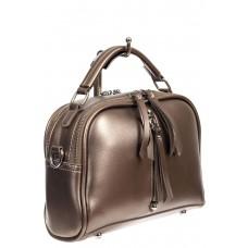 На фото 1 - Женская сумка-купол из искусственной кожи  с подвесками, цвет бронзовый