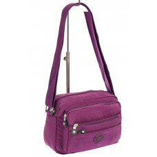 На фото 1 - Женская сумка из ткани кросс-боди, цвет фиолетовый