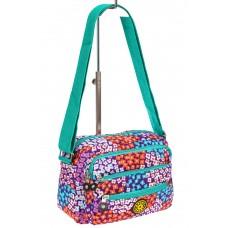 На фото 1 - Женская текстильная сумка кросс-боди в мелкий цветочек, мультицвет
