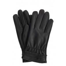 На фото 1 - Чёрные женские перчатки из искусственной кожи