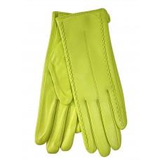 На фото 1 - Женские перчатки из натуральной кожи, цвет лимонный
