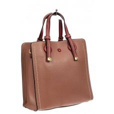 На фото 1 - Женская сумка тоут из искусственной кожи, цвет пудровый