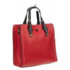На фото 1 - Женская сумка тоут из искусственной кожи, цвет красный