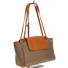 На фото 1 - Текстильная сумка-почтальонка со вставками из искусственной кожи, цвет хаки