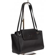 На фото 1 - Текстильная сумка-почтальонка со вставками из искусственной кожи, цвет чёрный графит