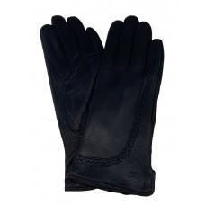 На фото 1 - Перчатки женские из натуральной кожи оленя, цвет чёрный