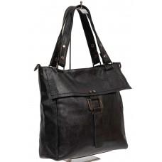 На фото 1 - Чёрная женская сумка из искусственной кожи с декоративным клапаном