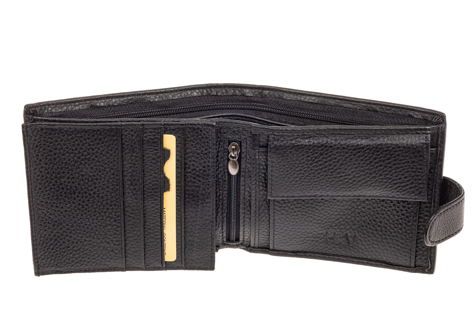 На фото 2 - Мужское портмоне (кошелек) из кожи, черное